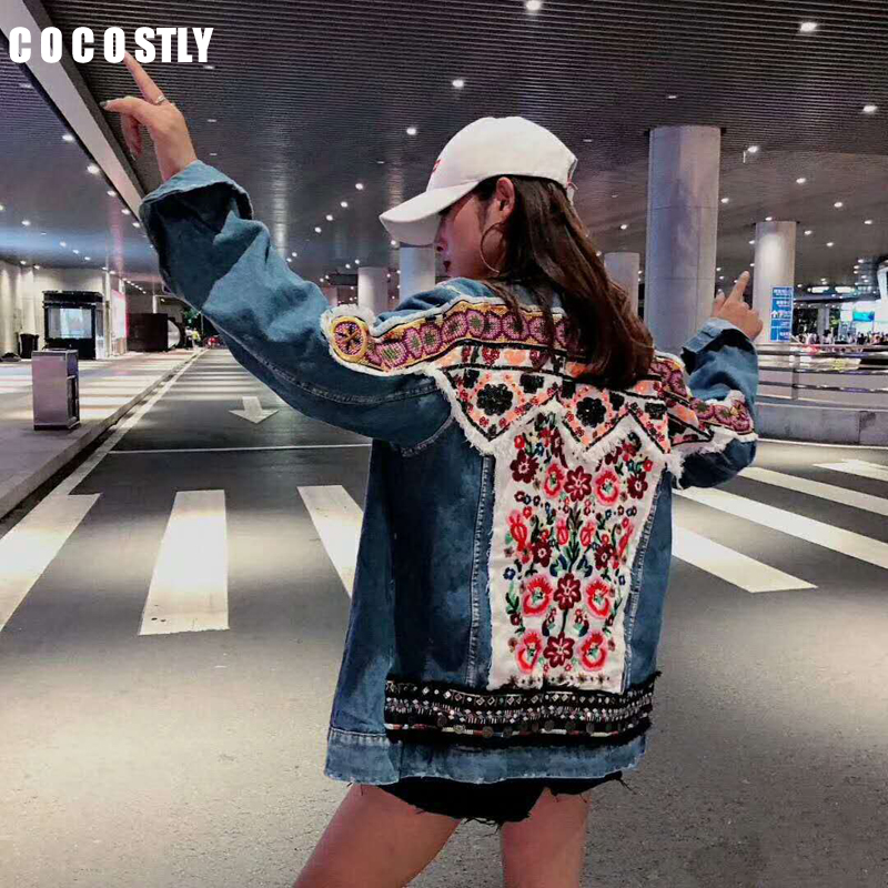 Flower embroidery denim   jacket   coat women Vintage Spring   basic     jackets   2019 harajuku Casual ripped jean   jacket   outerwear