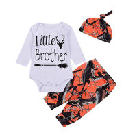 2017 Baby Boy Clothes 3pcs Baby Clothing Sets White Cotton Rompers Orange Printed Long Pants Hat