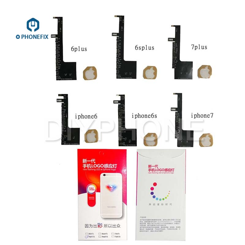 PHONEFIX Adjustable 16 Colors Apple Logo Light Flex Cable Replacement Night Glow LED Lamp Flex Cable for iPhone 6 6s 6P 6sP 7 7P