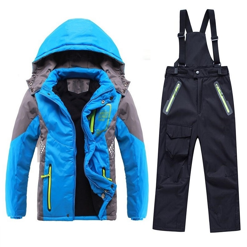 Winter Warm Waterproof Baby Boys Girls Climbing Clothing Sets Child Coat and Pant Children Outerwear Kids