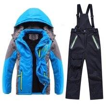 Winter Warme Wasserdichte Baby Jungen Mädchen Klettern Kleidung Sets Kind Mantel und Hose Kinder Oberbekleidung Kinder Sets 3 12 jahre Alt