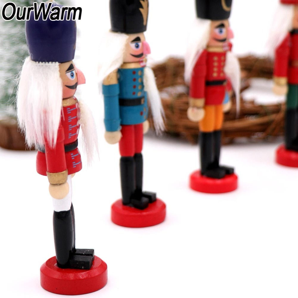 ourwarm 6pcs nutcracker puppet zakka hanging wooden christmas ornaments christmas tree decorations creative desktop decoration in pendant drop ornaments - Nutcracker Christmas Decorations