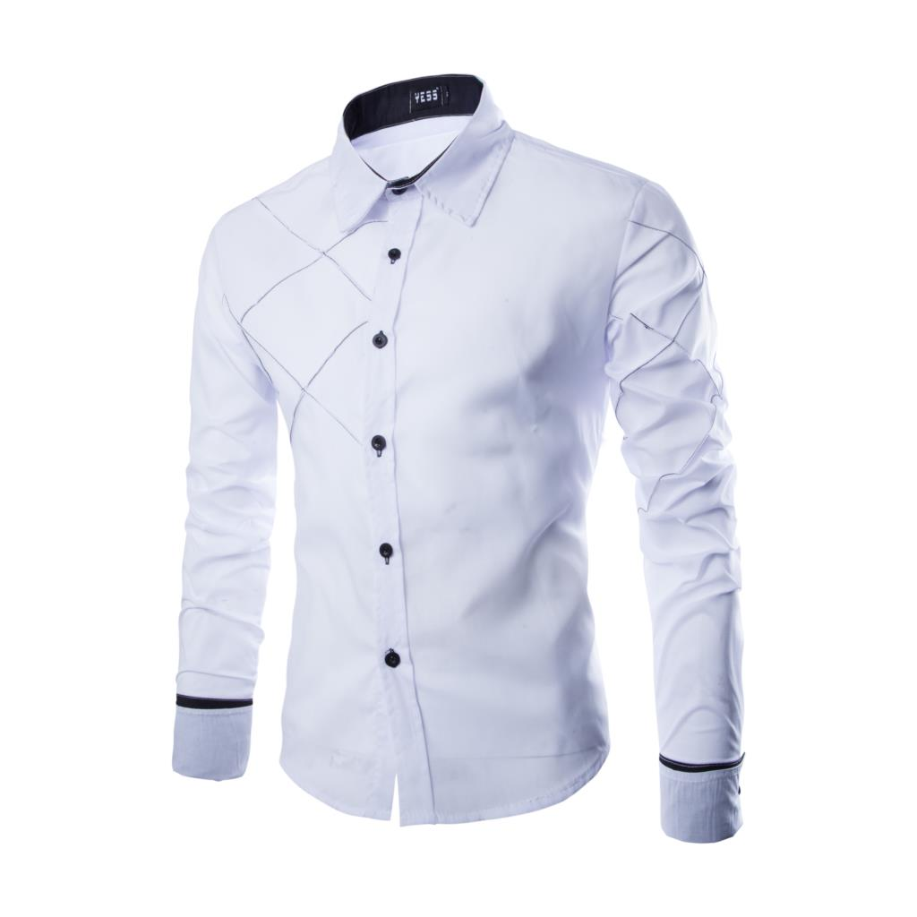 17 New Fashion Brand Men Shirt Grid 10 Colors Dress Shirt Long Sleeve Slim Fit Camisa Masculina Casual Male Shirts Model White 4