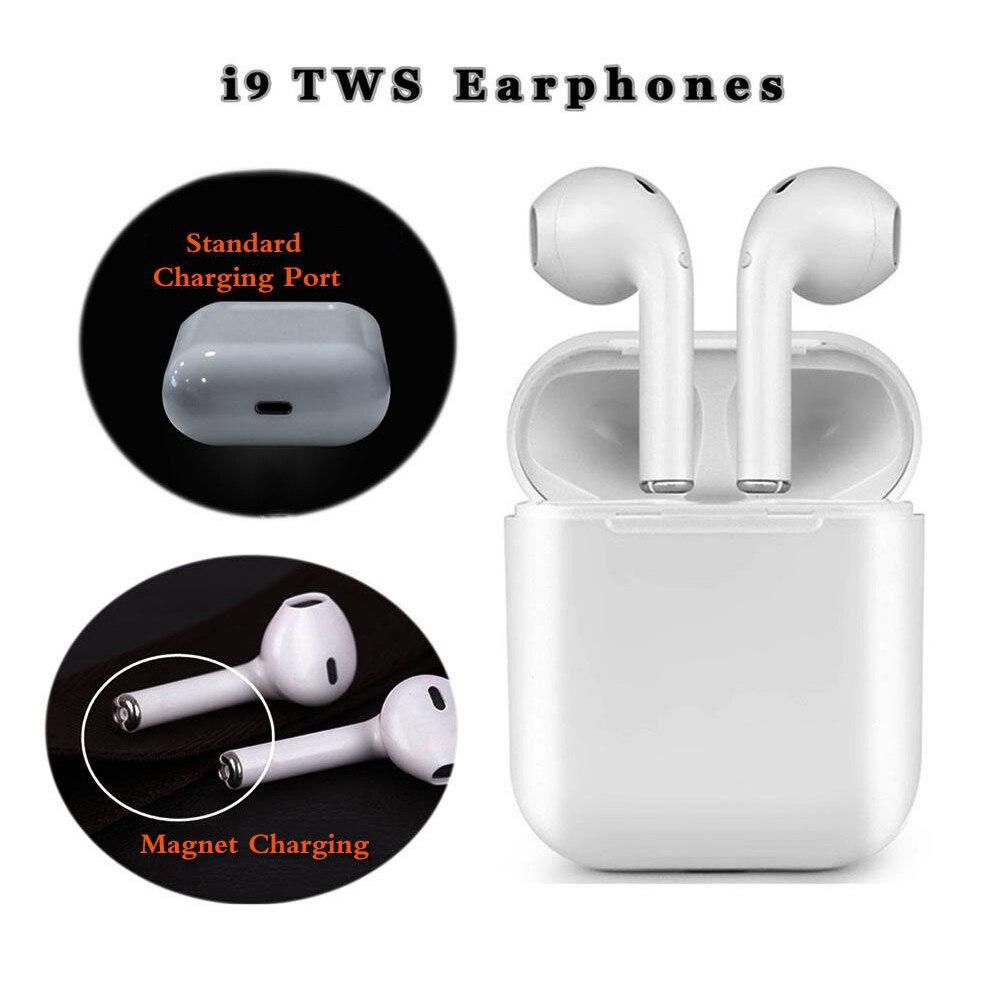 Auriculares cargador magnético caja auriculares I9 TWS auriculares Bluetooth inalámbrico Mini Stereo Headset auriculares inteligente auriculares