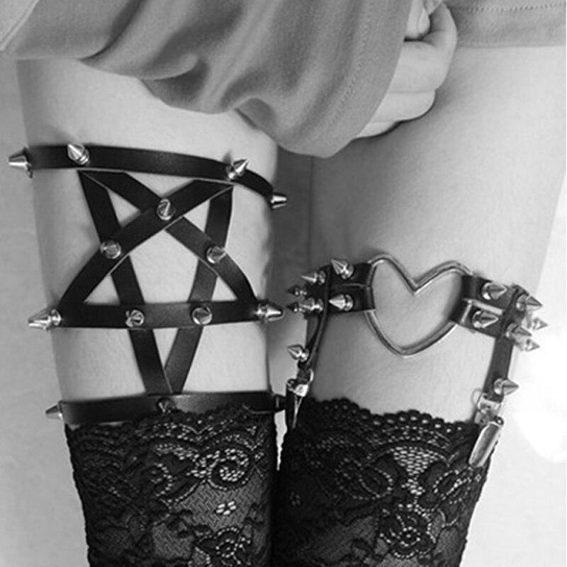2019 New Pu Goth Pentagram Garter Belt Gothic Bust Foot Bondage Sexy Women Suspender Belt Cage Bondage Lingerie Black Retail