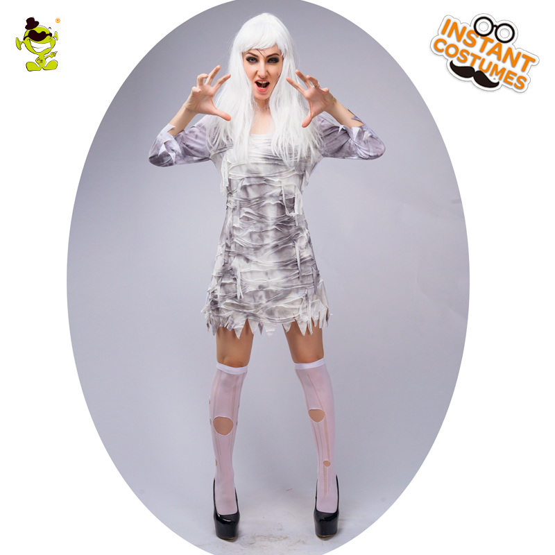 Ladies Fearful Devil Ghost Costume Women's Mummy&Zombie Halloween Party Horror Corpse Ghost Role Play Fancy Dress Cosplay