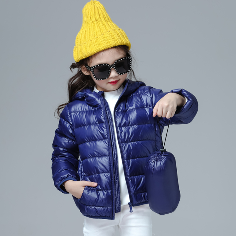 Girls Down Jacket Fashion Children Winter Coat Kids Ultra Light Winter Jackets For Girls Portable Hooded Down Coats For Teenage