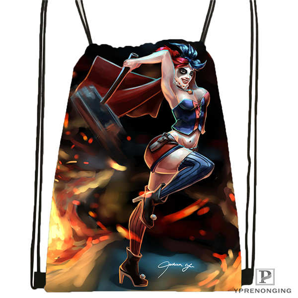 Custom Harley_quinn_Drawstring Backpack Bag Cute Daypack Kids Satchel (Black Back) 31x40cm#20180611-02-51