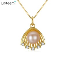 LUOTEEMI Female Fashion Elegant 7 7 5mm Paragraph Natural Pearl 925 Sterling Silver Pendant For Women