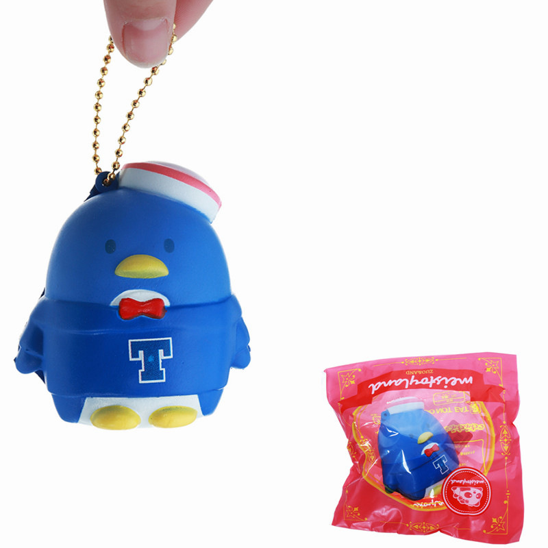 Meistorland Navy Penguin for Squishy Soft Straps Squeeze Toy With Chain Retail Packaging Keychain Phone Straps Lovely Decor Toy