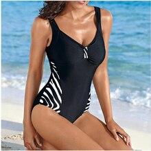 סקסי בציר בתוספת גודל גדול 5xl חתיכה אחת נשים בגדי ים מותג גבירותיי בגד ים צנוע מתרחץ שחור בגד ים זברה פס