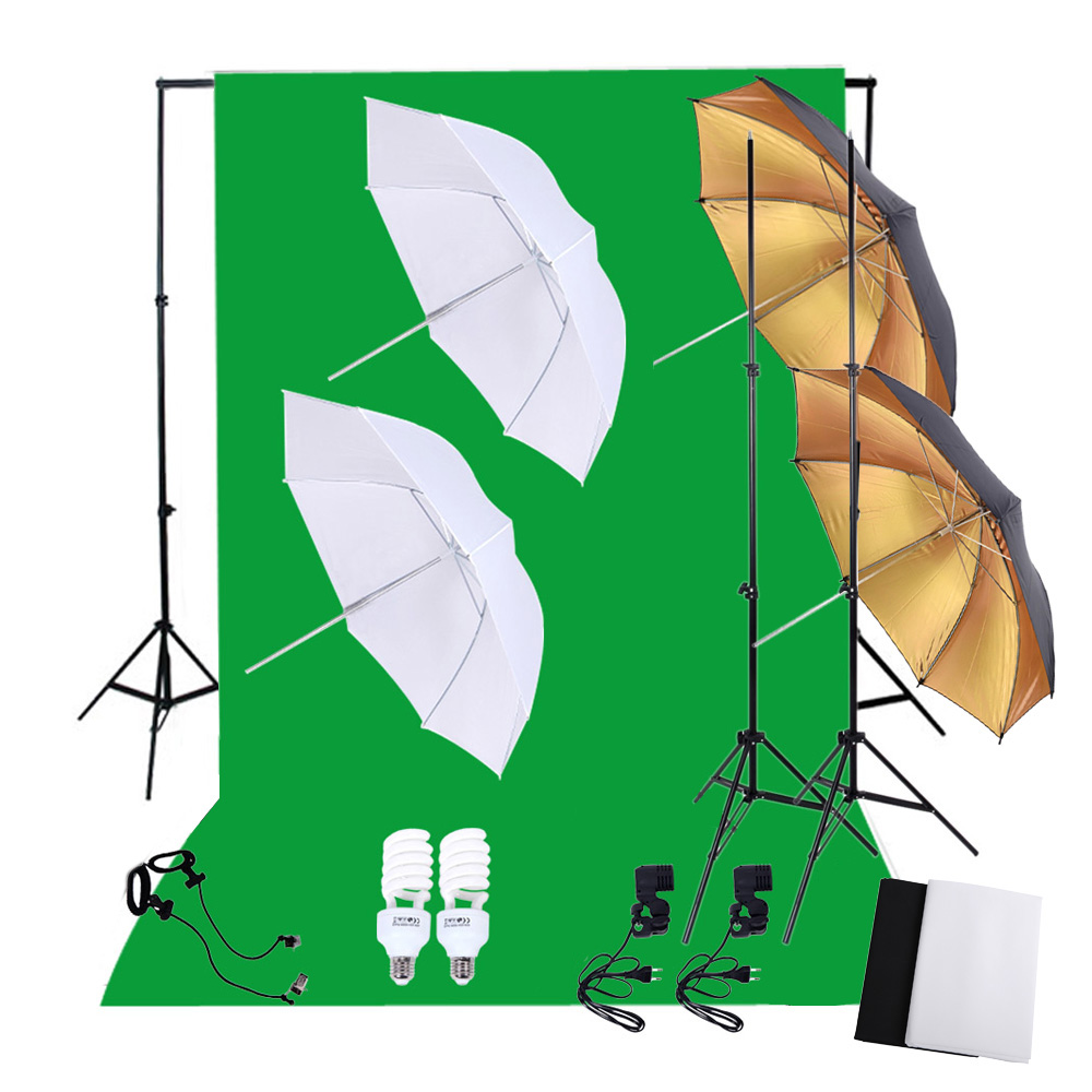 DE STOCK Photography Studio Lighting Set with 45W 5500K Daylight Studio Bulbs Light Stands Backdrop Reflector