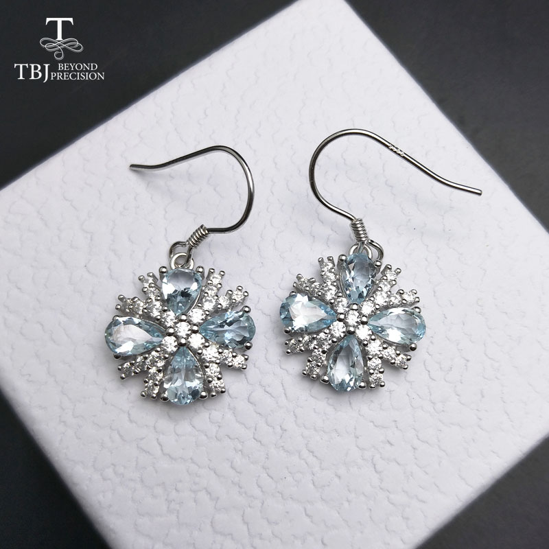 TBJ,4ct 100% Natural Gemstone aquamarine Earrings For Women 925 Sterling Silver hook Earrings Fine Jewelry as gift with box