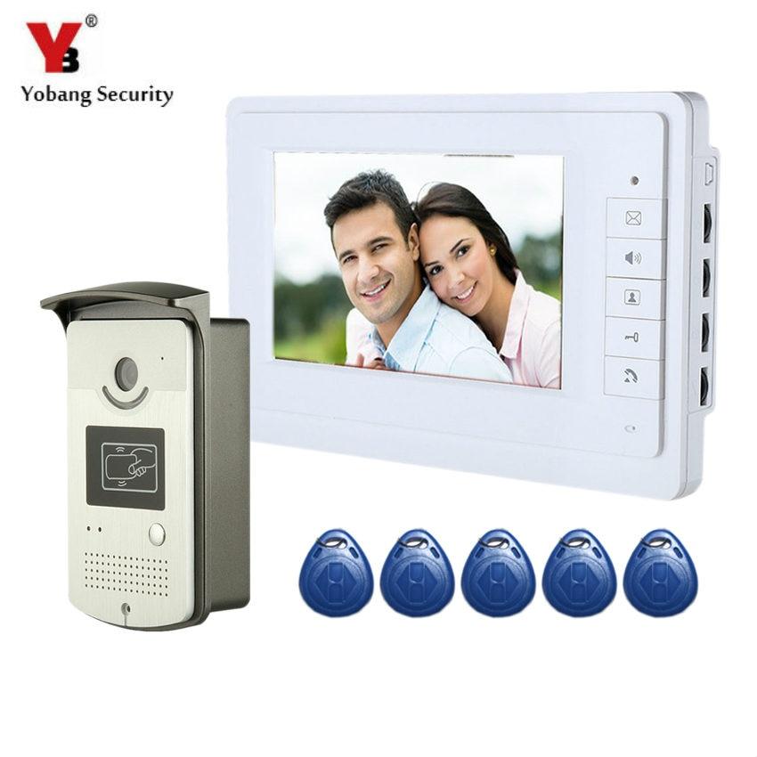 YobangSecurity RFID Card Access Control 7 Inch Monitor Video Doorbell Door Phone Speakephone Intercom Camera Monitor