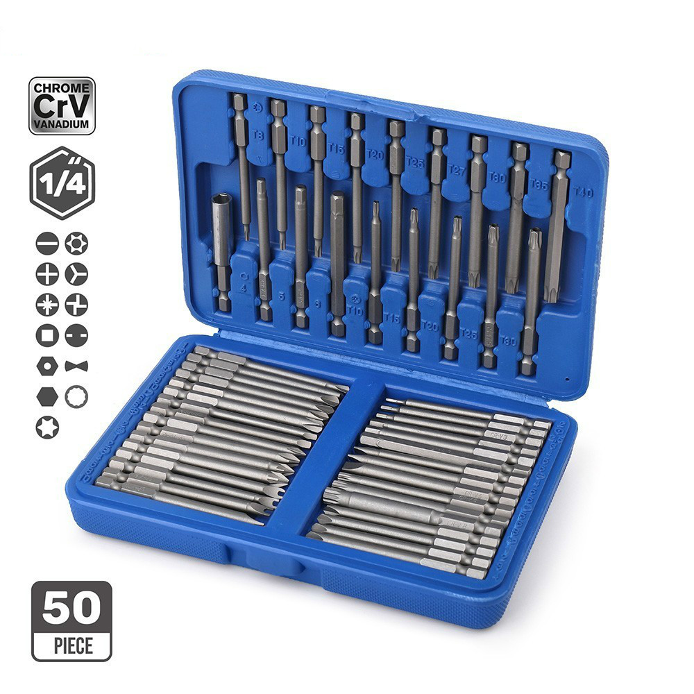 50pc Extra Long Bit Set 75mm Cr-V Quick Release Screwdriver Bit Holder Security Bit Set Torx Hex Spline Slotted Hand Tools milwaukee 48 20 4345 3 4 spline bit with 27 long