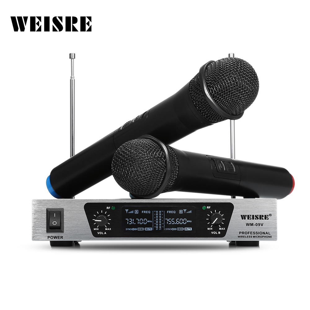 buy weisre professional wireless dynamic vhf microphone system karaoke for home. Black Bedroom Furniture Sets. Home Design Ideas