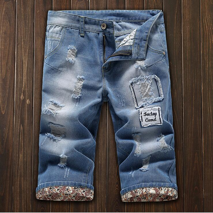 #3704 2016 Distressed jeans shorts men Fashion Ripped denim shorts Destroyed mens jeans shorts Pantalon homme Slim fit Straight