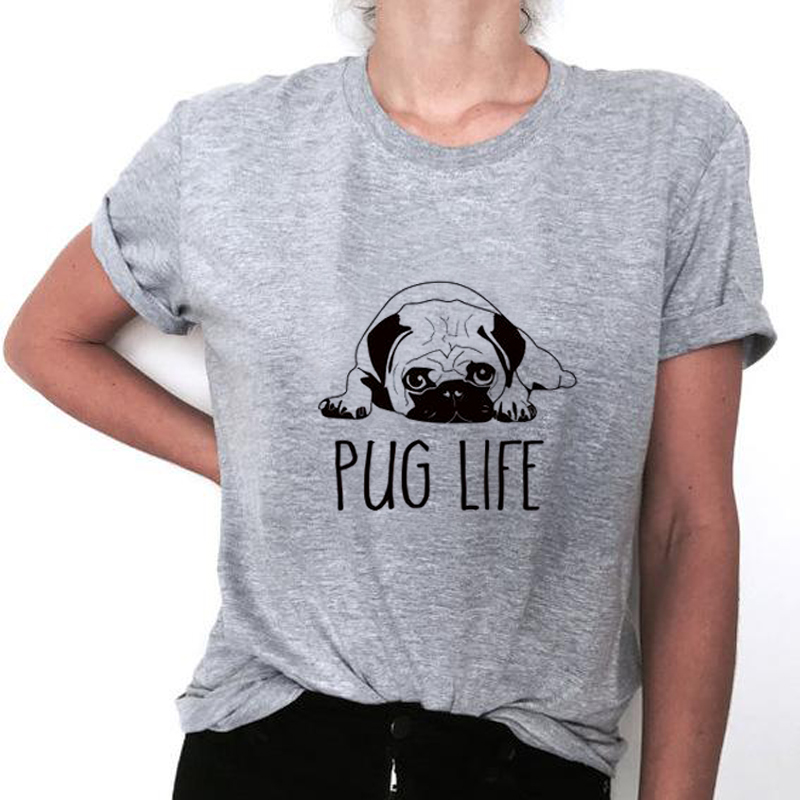 Top Quality Cotton Cut Pug  Donne T Camicia Casual  Delle Donne T-Shirt 2017 Nuovo Disegno Donna Tee Camicie