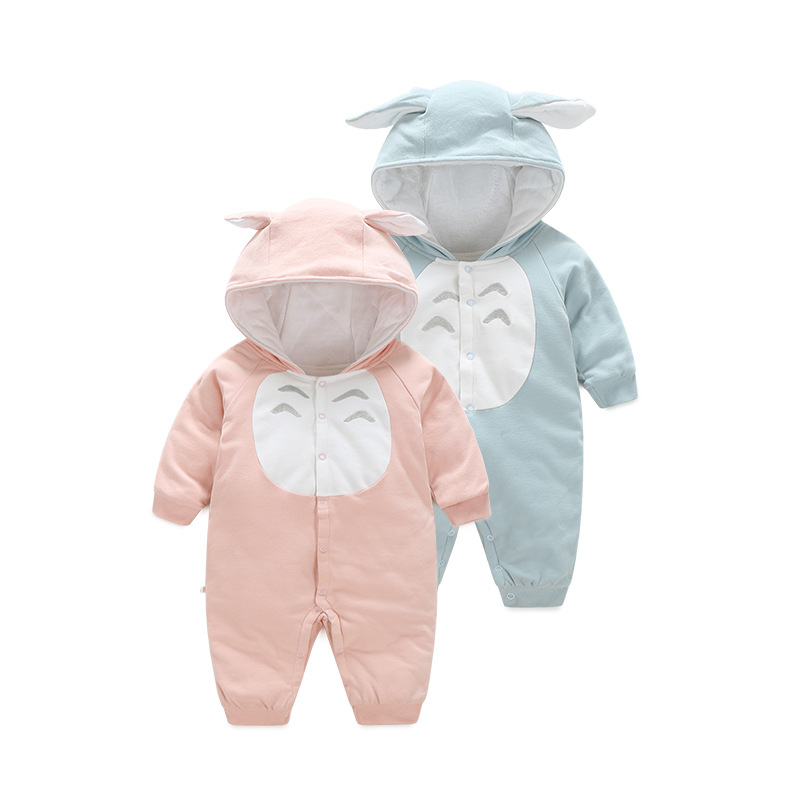 Cotton Baby Romper Long Sleeve Coverall Hooded Infant Jumpsuit Cute Autumn Winter Cartoon Totoro Shape Kids Clothes Boy Girl hy130 organic cotton baby s snap long sleeve infant romper cloth blue size l