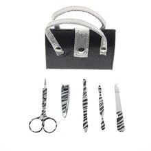 5Pcs/Set Handbag Shape Black Glitter Manicure Set Include Nail File Cuticle Corrector Nail Scissor Tweezer Nail Clipper