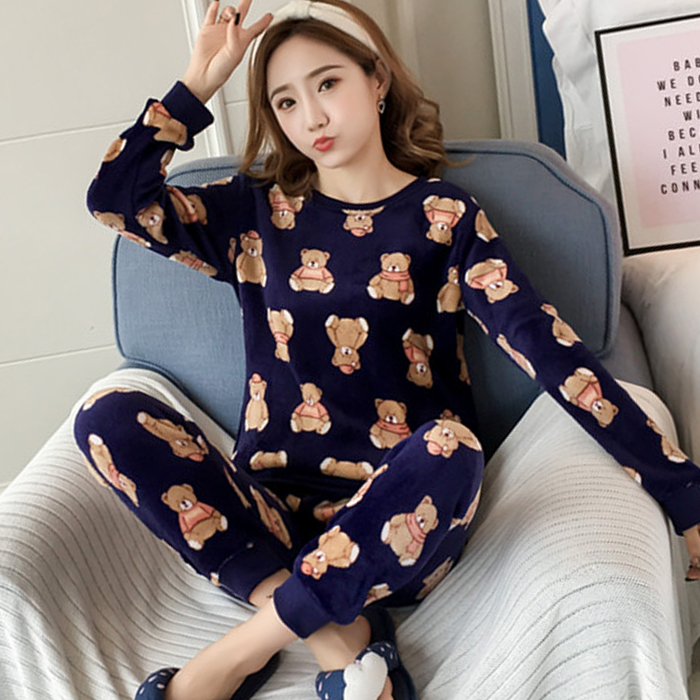 2018 Winter Women   Pajamas     Set   Warm Fannel Thickening Cartoon bear print Sleepwear   Sets   young Girl Pyjamas Coral fleece   Pajamas
