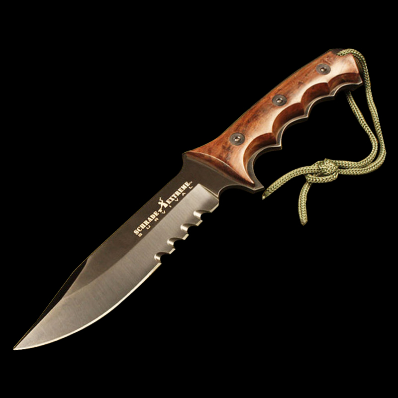 ToughKeng 5Cr13 Steel Tactical Hunting Fixed Blade Knives Ebony wood Handle Outdoor Survival Knives Cordura Case