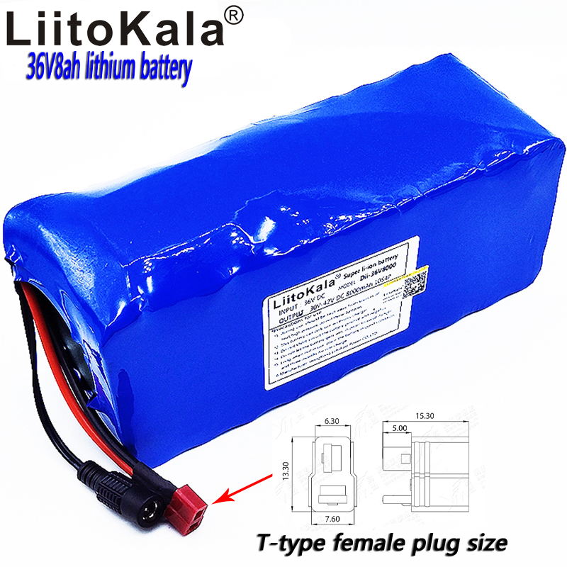 LiitoKala 36v8ah electric bicycle lithium ion battery 18650 8000mAh 10S4P large capacity battery pack bms 500W overcurrent 24v 10 ah 6s5p 18650 battery lithium battery 24 v electric bicycle moped electric li ion battery pack