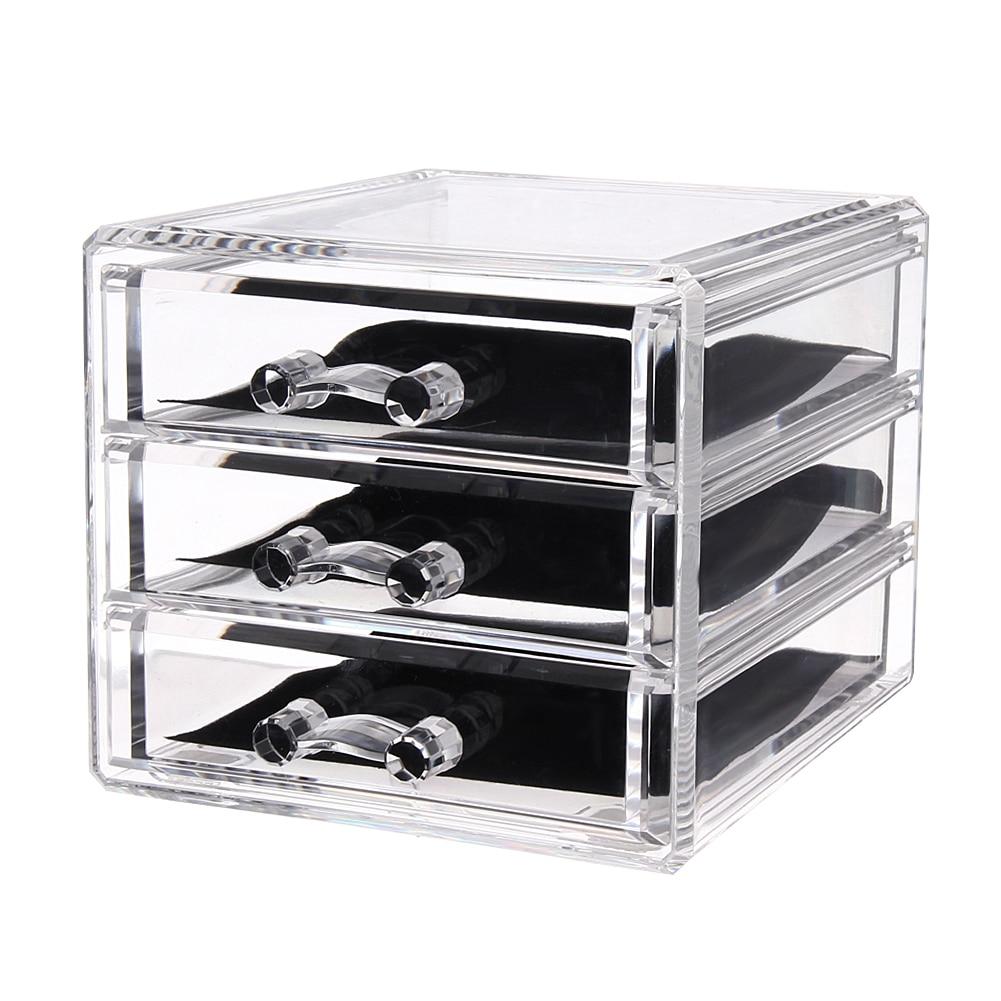 Acrylic Lipstick Holder Cosmetic Storage Box 3 Grids Makeupanizer  Sundries Display Box(china (