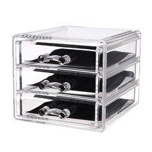 Акрил помады владельца косметической коробка для хранения 3 сетки Макияж Организатор разное Дисплей коробка