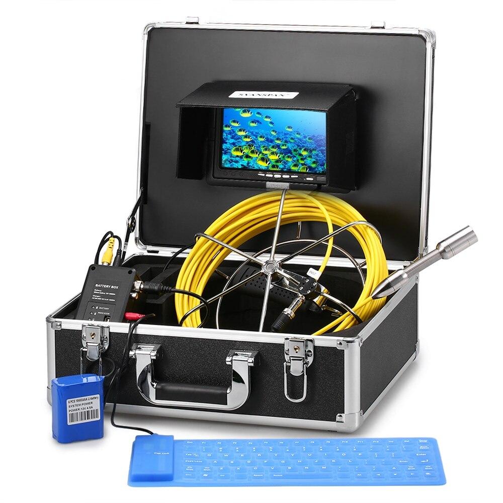 Сливной трубы Канализационные инспекции видео камера системы 12 светодиодов ночное видение промышленных эндоскоп 8 Гб SDcard в комплекте