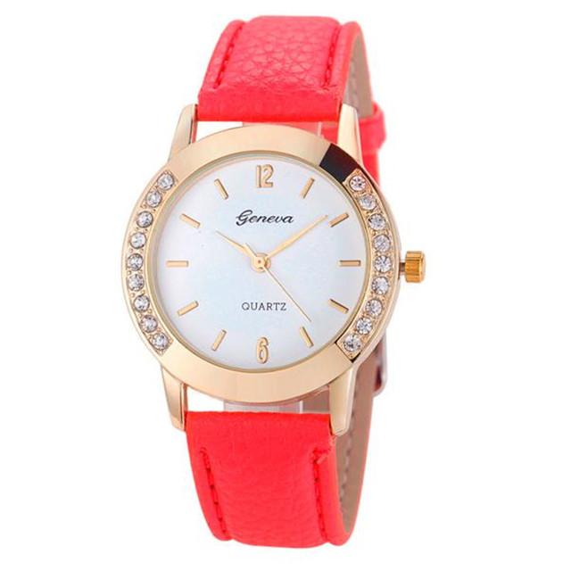 Hot Hothot Sale Quartz Watch Casual Style Women Watches Rhinestone Analog Faux Leather Wrist Watch Women relogio feminino jy28