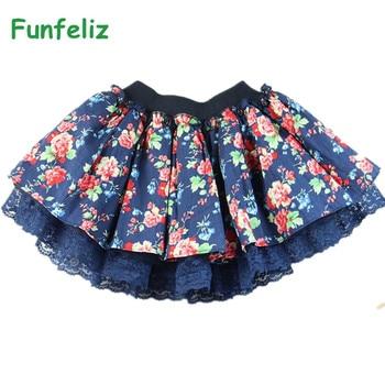 9a74a1dc Falda tutú Funfeliz niña Primavera Verano niñas faldas estampado Floral  Pettiskirt Saia tutú faldas para Niñas