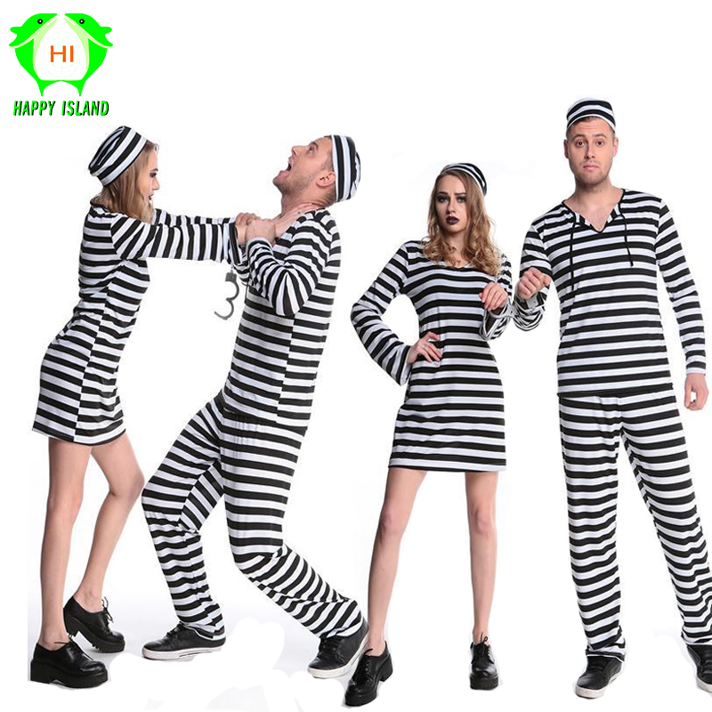 221193dea72 2019 Newest Women Men Prisoner Uniform Streak Costume Halloween Carnival Cosplay  Costumes Performance Fancy Dress Party Clothing
