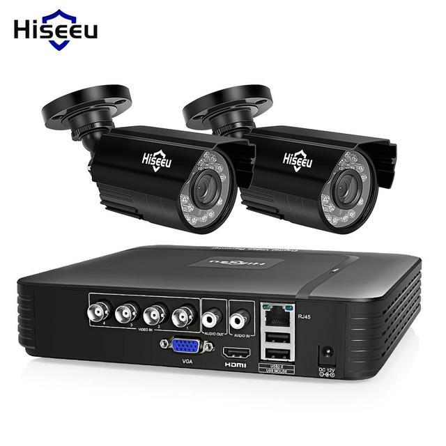 Hiseeu HD 4CH 1080N 5in1 AHD DVR комплект видеонаблюдения Системы 2 шт. 720 P/1080 P AHD водонепроницаемый/пулевые Камера 2MP P2P безопасности набор для наблюдения