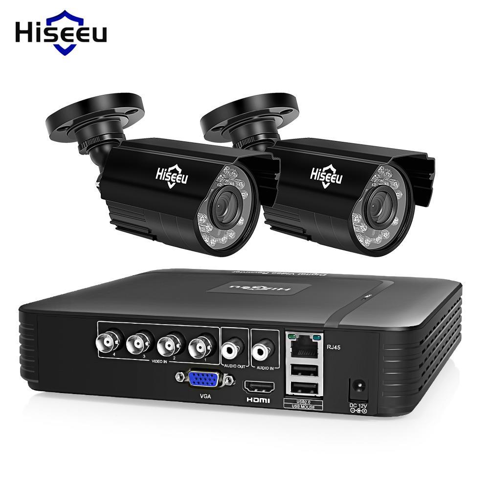 Hiseeu HD 4CH 1080N 5in1 AHD DVR комплект видеонаблюдения Системы 2 шт. 720 P/1080 P AHD водонепроницаемый/купол ИК Камера 2MP P2P видеонаблюдения комплект