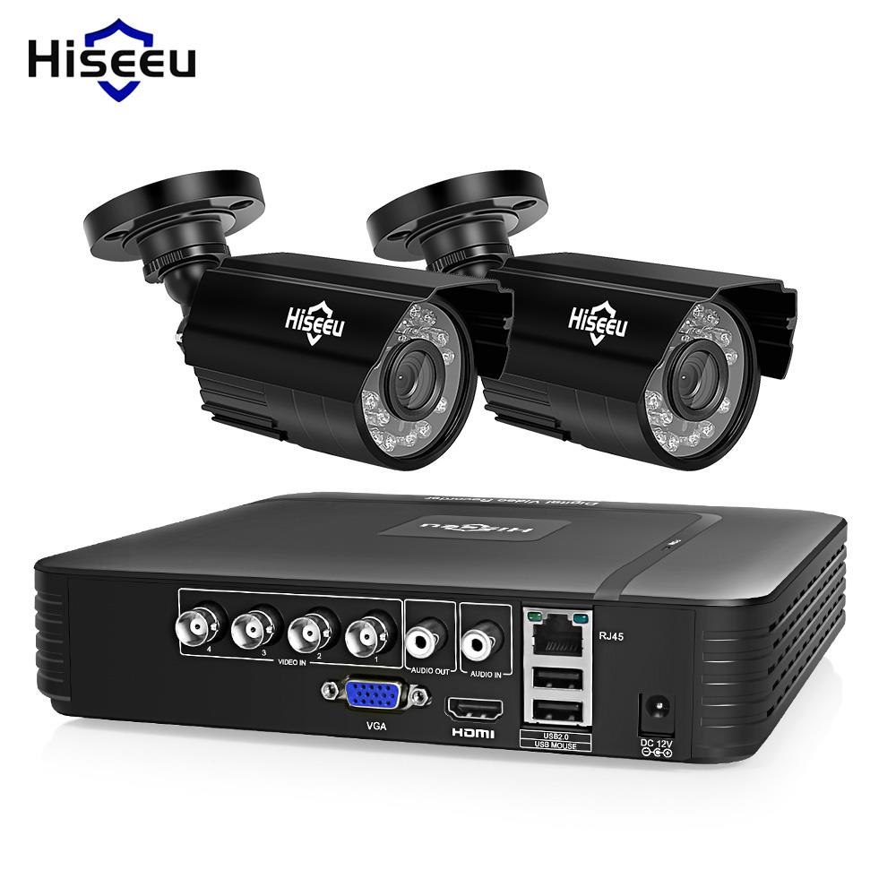 Hiseeu HD 4CH 1080N AHD DVR Sistema de CFTV Kit 5in1 2 pcs 720 p/1080 p AHD à prova d' água/ segurança Vigilância Câmera dome IR 2MP P2P Conjunto
