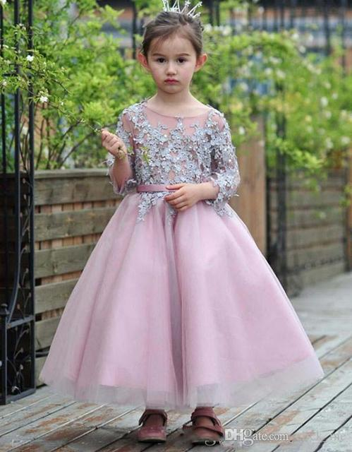 Grey pink flower girls dresses for weddings long sleeve appliques grey pink flower girls dresses for weddings long sleeve appliques beads girls pageant gown ankle length mightylinksfo