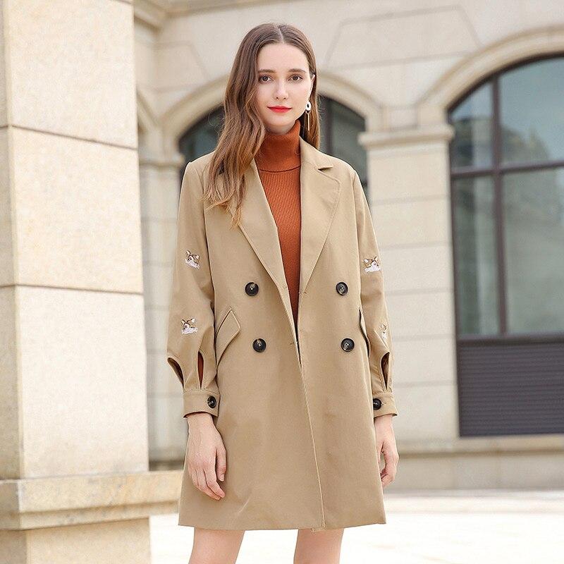 Taille Grande Broderie Chat 2019 Breasted D'affaires khaki Long Nouveauté coat Vêtements Trench Femmes Mode Avec Ceinture 5xl Manteau Double D'extérieur Black 1YXnxww