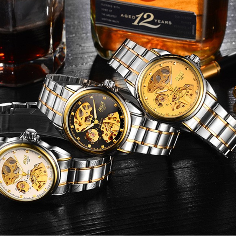 BOSCK Automatic Mechanical Wrist Watch Men Self-winding Skeleton Watches Top Brand Luxury Gold Watch Clock erkek kol saati 5