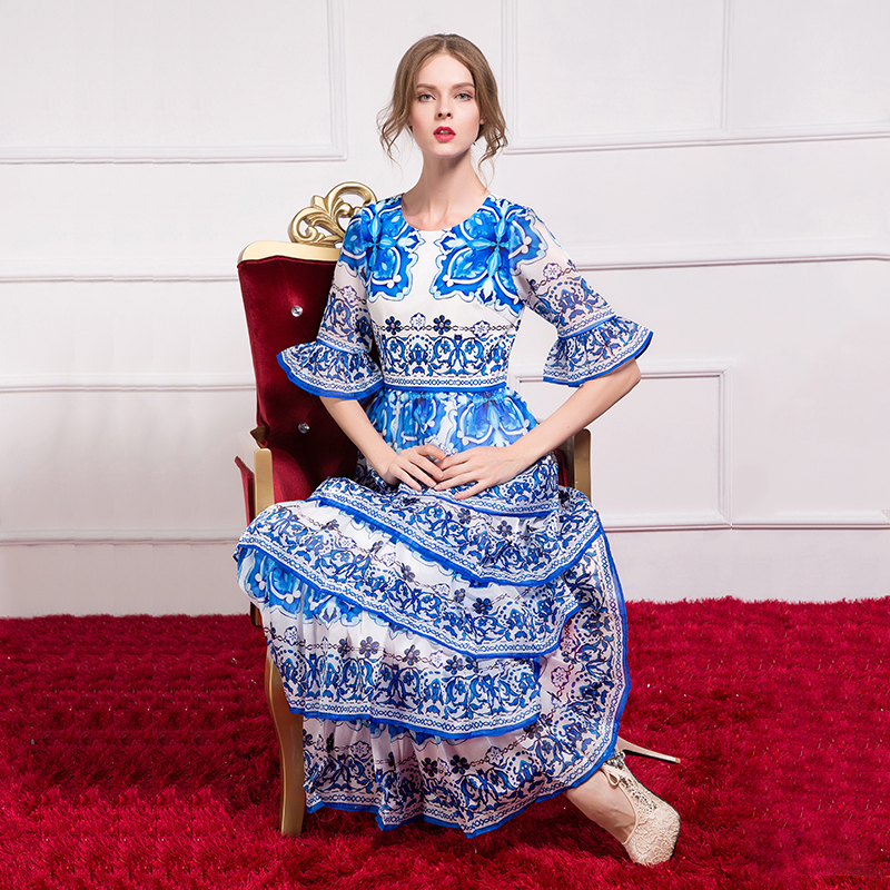 by Megyn 2019 summer long dress maxi dress half sleeve elegant print good quality designer brand