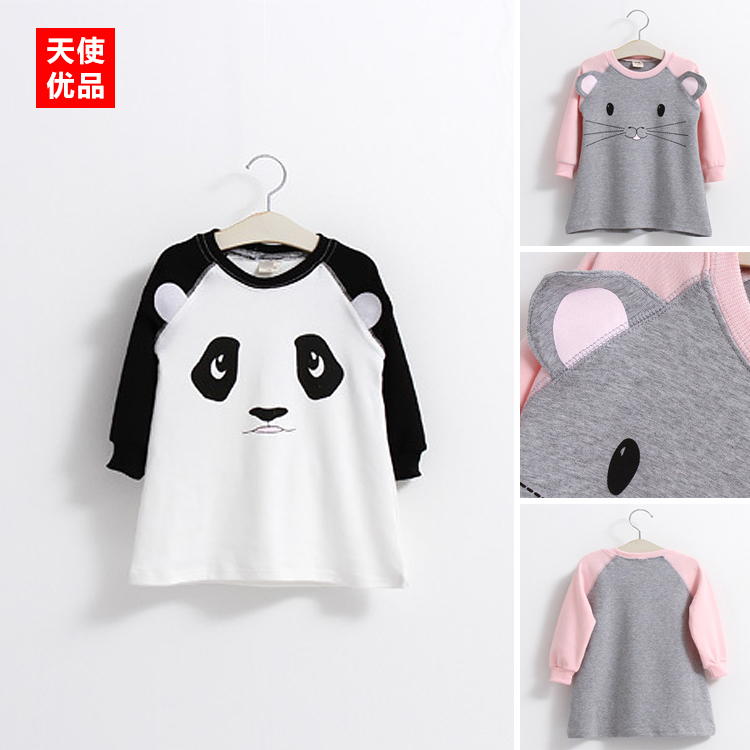 2017 Spring And Autumn Dress New Pattern Childrens Girl Children Baby T-shirt Three-dimensional Ears Long Long Sleeve A Word