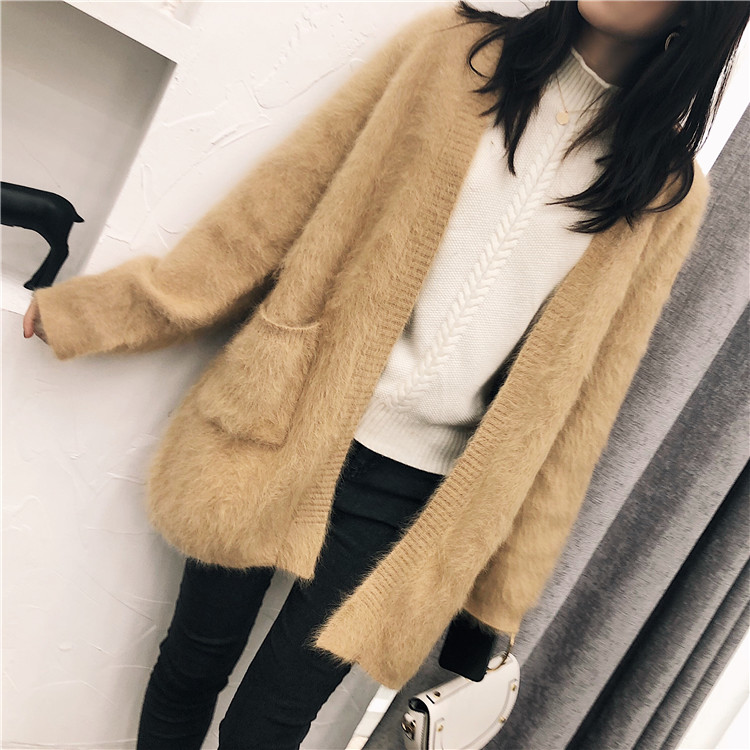 2019 Winter women mink cashmere cardigan warm soft fluffy Angola any size real nature 100 mink