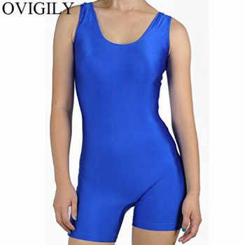 OVIGILY Adults Lycra Tank Unitard Short Yoga Bodysuit Jumpsuit Womens Black Sleeveless Gymnastics Unitards Biketard Ballet Dance