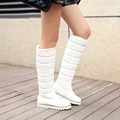 Women boots winter PU leather fashion warm snow boots women shoes  buckle knee-high white boots  sh030023