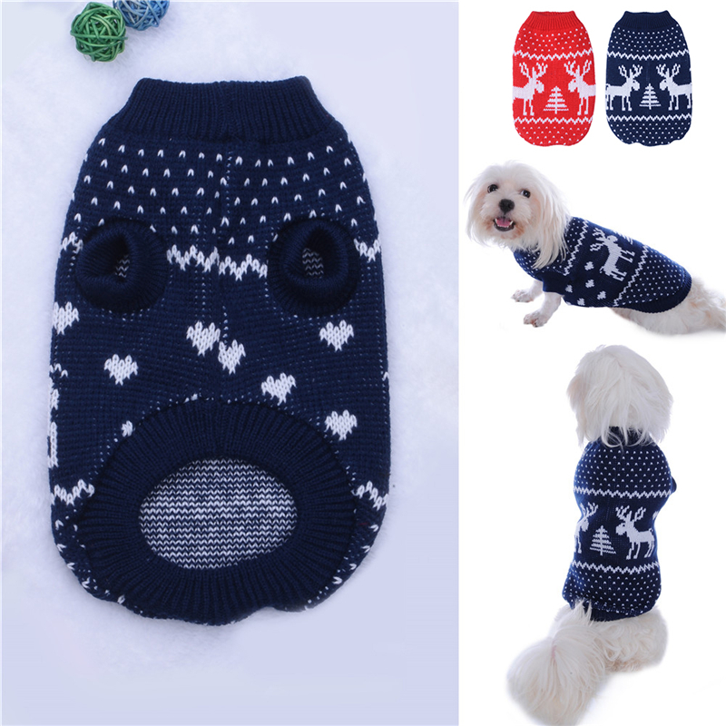 New Design Pets Doggy Puppy Cat Christmas Reindeer Costume Clothes for Winter Elk Printed Dog Breathable Soft Sweaters 1PCS 2016