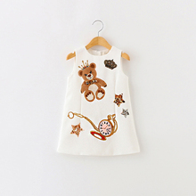Girls Dress Summer Baby Clothes Girl Sleeveless Kids Dresses For Girls Character Bear Print Dresses Princess Dress bear leader girls dresses 2018 new brand spring princess dress kids clothes graffiti print design for baby girls clothes 3 8y