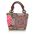 Chinese National Style Embroidery Bags Women Fashion Handbags Casual Embroidered Shoulder Bag Wood Beads Travel Shopping Bag