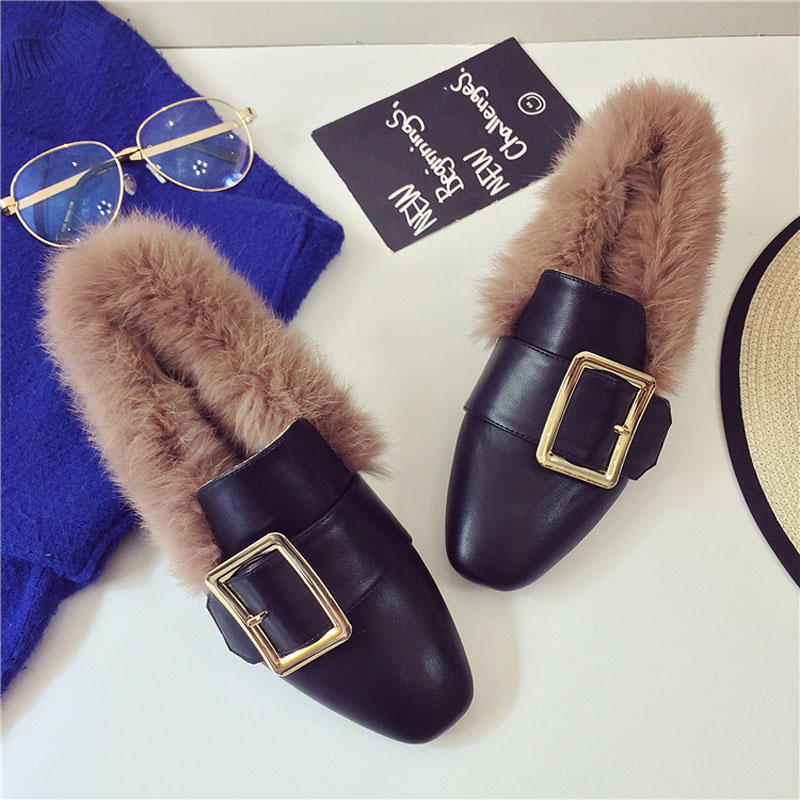 Jookrrix 2017 New Autumn Women Square Toe Flat Shoe Lady Fashion Slip On Shoes Metal Decoration Female Shallow Daily Soft Angora new brand autumn women metal flat shoes casual lady slip on flats soft soled natual leather pointed toe shoes comfort female