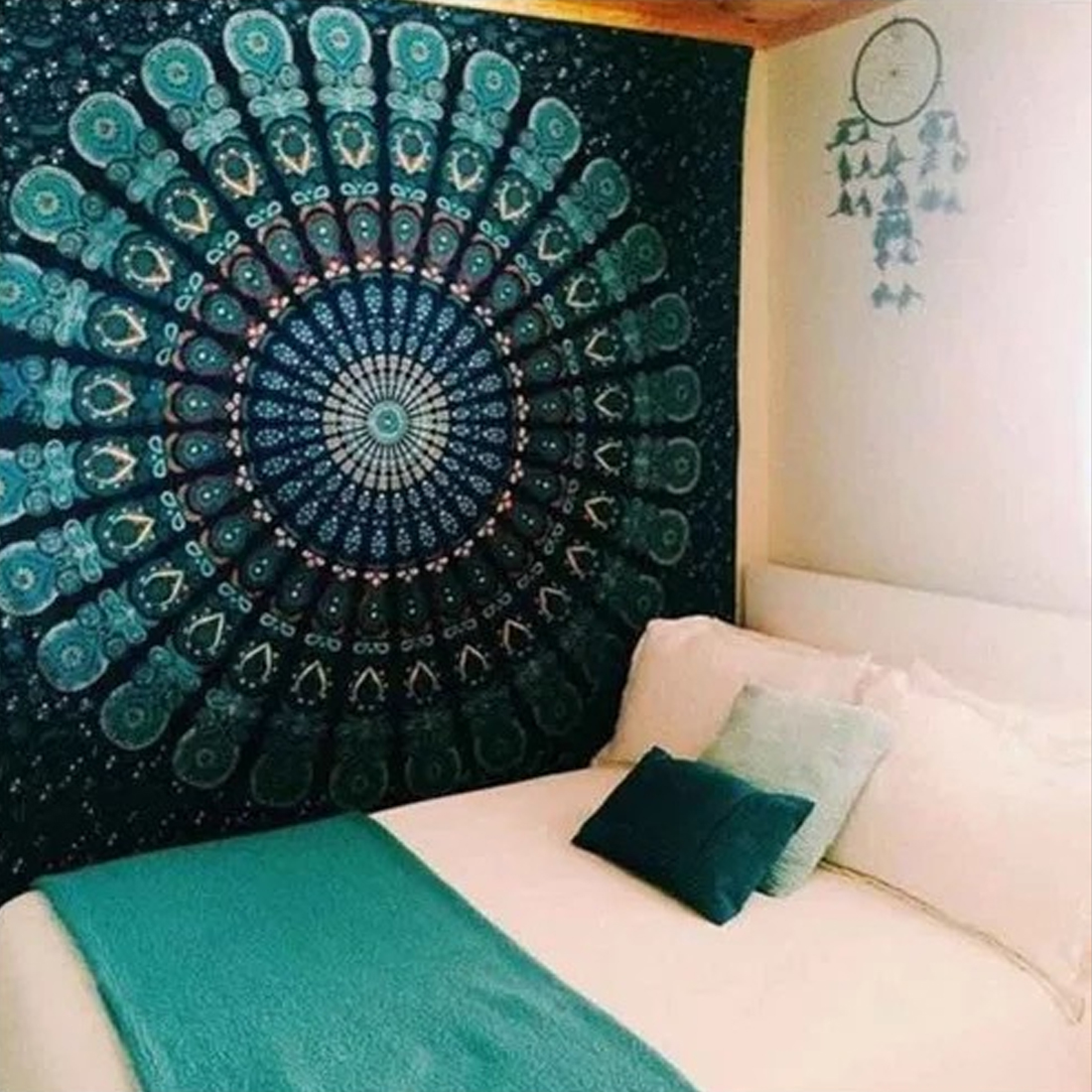 HUGS IDEA Wall Hanging Jewelry Blue Mandala Tapestry Indian Ethnic Style Hippie Bohemian Wall Blanket Bedspread Tablecloth Home Decor