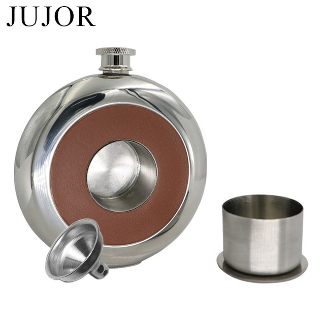 JUJOR Mirror Polished Pie Pu Leather Hip Flask 5 OZ Fine Round Stainless Steel with a Small Glass Funnel Grade 304